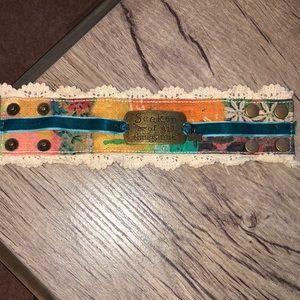 """""""Seeker of all things true"""" fabric cuff bracelet"""